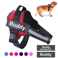 Personalized Dog Harness NO PULL Reflective Breathable Adjustable Pet Harness with ID Custom Patch Outdoor Walking Dog Supplies