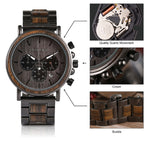BOBO BIRD Luxury Wood Stainless Steel Mens  Watch. Stylish Wooden Timepieces Chronograph Quartz Watch, Great Gift