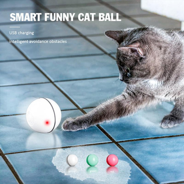 1Pcs Cat Toys Electric Rolling Ball Rechargeable Cats Interactive Laser Magic Ball Toy Rolling Flash Fun Ball Waterproof Pet Toy