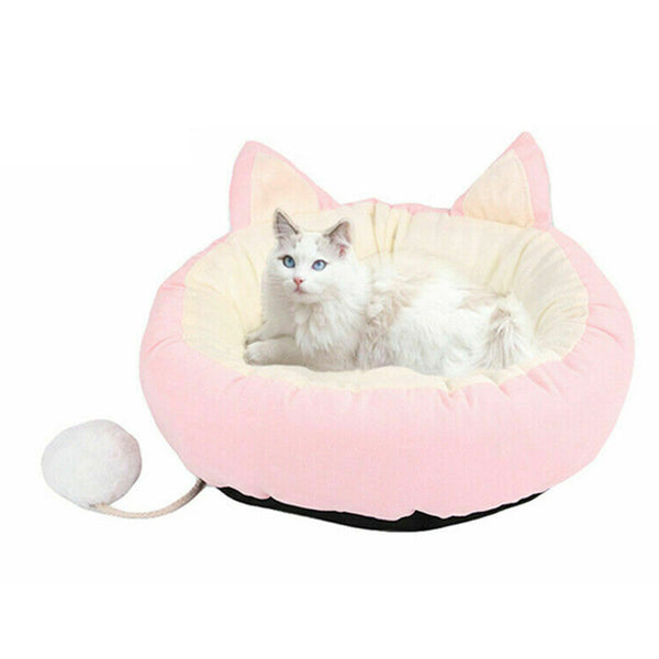 Round Plush Cat Home Bed Soft Plush Long Cat Bed Round Pet Cat Bed for Small Cats Nest Winter Warm Sleeping Bed Doormat 37cm