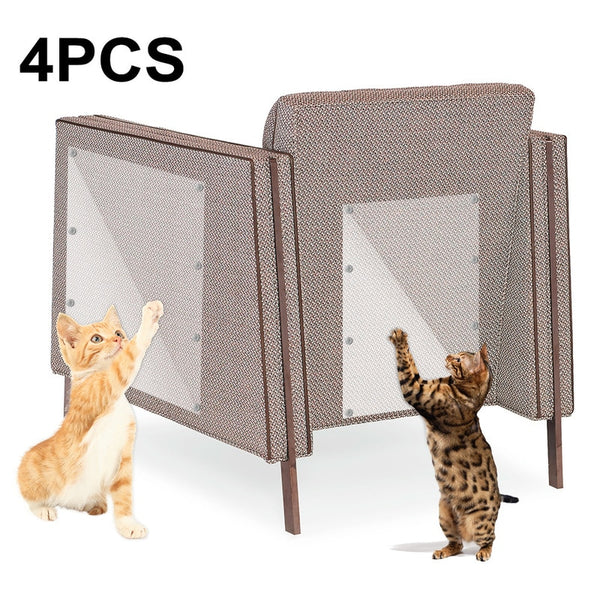 4pcs Couch Cat Scratch Guards Mat Scraper Pet Dog Scratching Claw Protector Sofa Furniture Scratcher Paw Pads with Nails