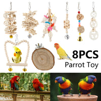 8PCS/Set Combination Parrot Toy Bird Articles Parrot Bite Toy Bird Toys Parrot Funny Swing Ball Bell Standing Training Toys