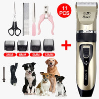 Cordless Electrical Pet Hair Trimmer Dog Cat Grooming Clippers Low-Noise Hair Cutting Shaver Nail Paw Claw Shaper Filer Scissors
