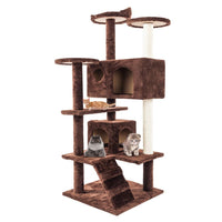 36in 52in Cat Climbing Tree Board Cat Kitten Scratching Post Toy Brown Pet Jumping Frame Tower Climbing Frame House Pets Supply