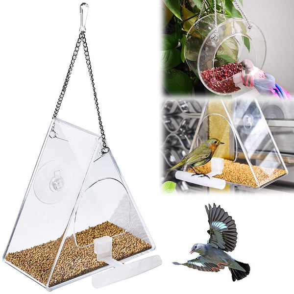 Acrylic Bird Feeder Transparent Waterproof Round Food Box Hanging Feeding Clear Window Viewing Bird Feeder Durable Reusable