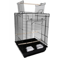"23"" Bird Cage Pet Supplies Metal Cage with Open Play Top White  black"