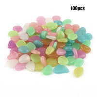 100pcs Pebble Luminous Stones Glow Dark Garden Decor Road Outdoor Fish Tank Decoration Rocks Aquarium Accesorriy Glow 3 hours
