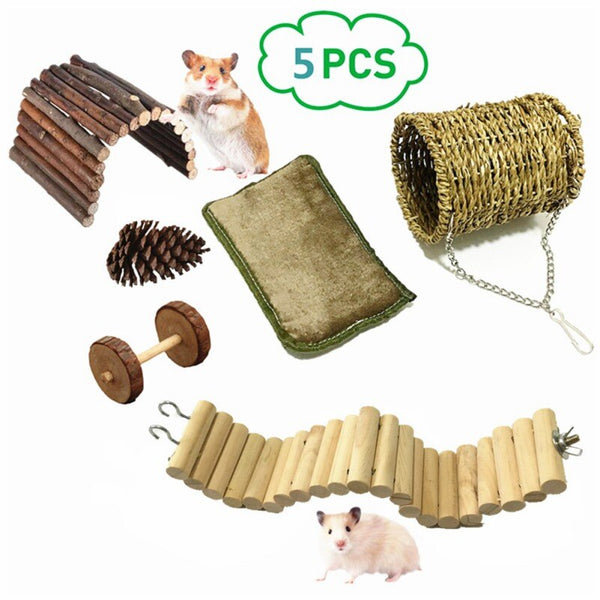 5 Pcs/lot Bird Parrot Hamster Toy Set Wooden Toys Hanging Tunnel Nest Small Pets Playing Supplies New