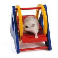 Hamster Rainbow Swing Fun Cute Seesaw Pet Toy Wooden Hamster Play Toys For Small Animals Rainbow  Swing