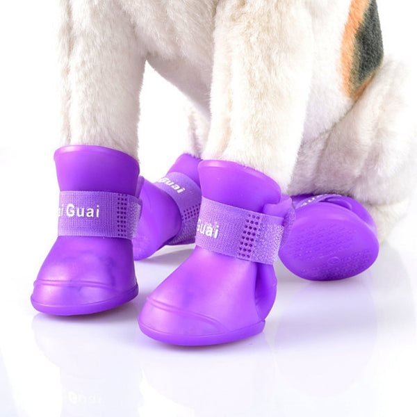 4 Pcs WaterProof Pet Clothing Rain Shoes Cute Boots Anti-slip Rubber Boot for Small Dogs Teddy