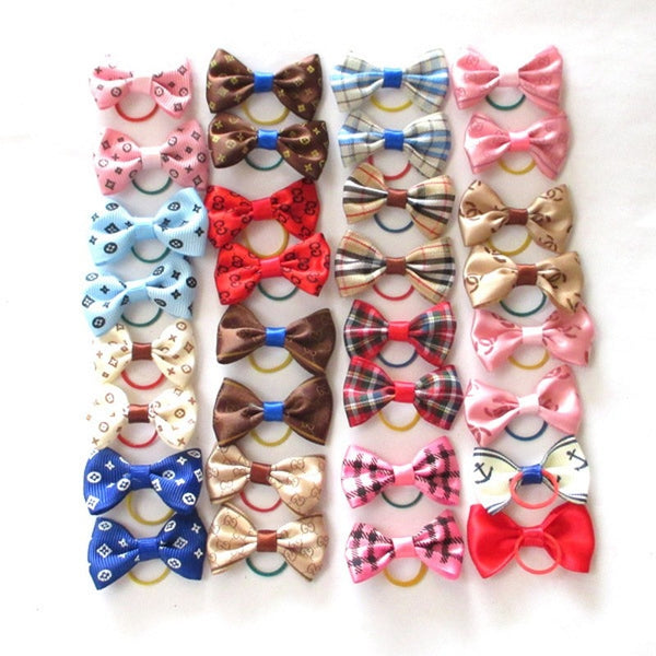 15 Colors Cute Pet Cat And Dog Rubber Band Hairpin Pet Bow Hair Accessories Small Size Pet Dog Beauty Product 5 pcs/lot