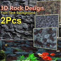 2Pcs 3D PU Aquarium Fish Tank Background Stone Rock Board Plate Backdrop Wall Decoration Reptiles Aquatic Pet Supplies 65X45cm