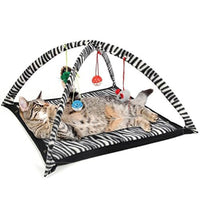 Funny Cat Play Tent With Hanging Ball Toys. Cat Bed Tent Kitten Mat. Exercise Activity Playing Blanket Portable Pet Supplies