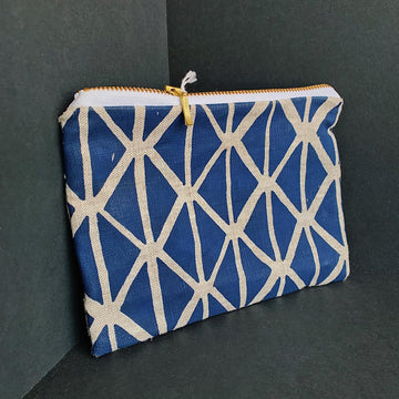 Print Pouch-Blue Triangles