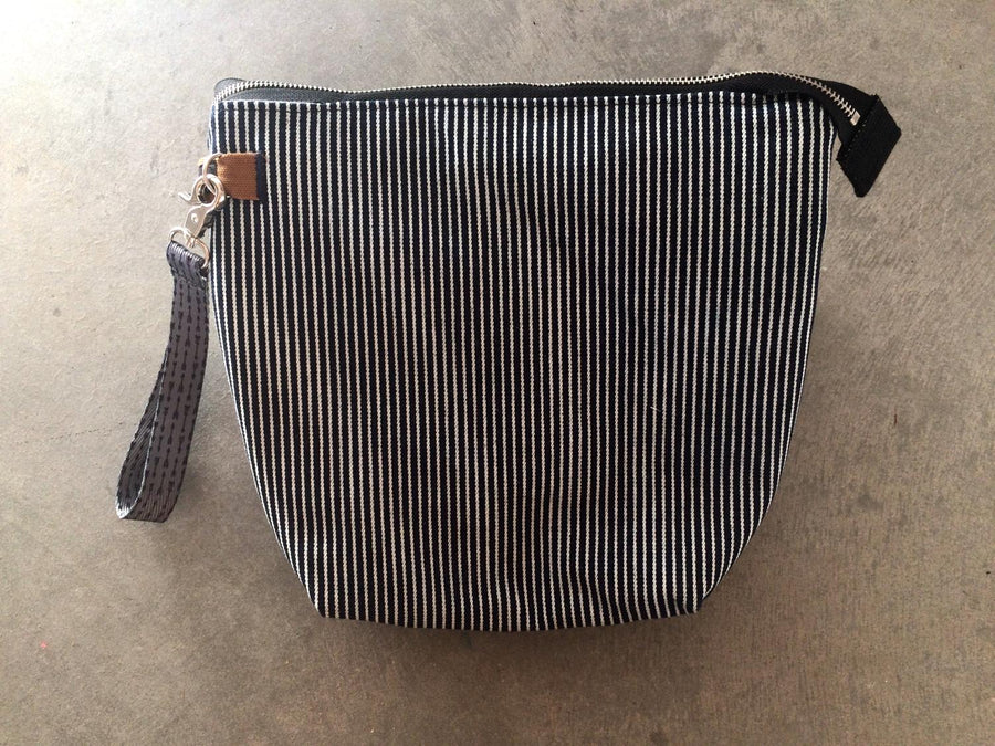 Striped Zipper Pouch-Navy