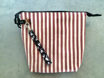 Striped Zipper Pouch-Red