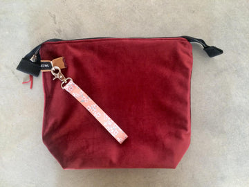 Velvet Zipper Pouch-Red