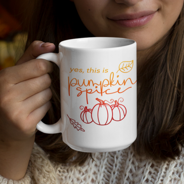 Pumpkin Spice Ombre Ceramic Mug (15 oz) - Lexis Rose Store - Buy Today!