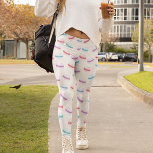 Macaron Tri-Color Print Comfy Women's Leggings - Lexis Rose Store - Buy Today!