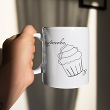 "Load image into Gallery viewer, ""Cupcake Queen"" Single Line Art Mug (11oz) - Lexis Rose Store - Buy Today!"