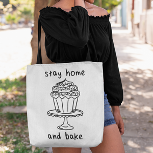 """Stay Home and Bake"" Tote Bag - Lexis Rose Store - Buy Today!"