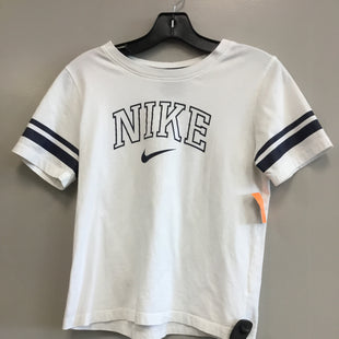 Primary Photo - BRAND: NIKE STYLE: ATHLETIC TOP SHORT SLEEVE COLOR: WHITE BLUE SIZE: S SKU: 313-31332-11036