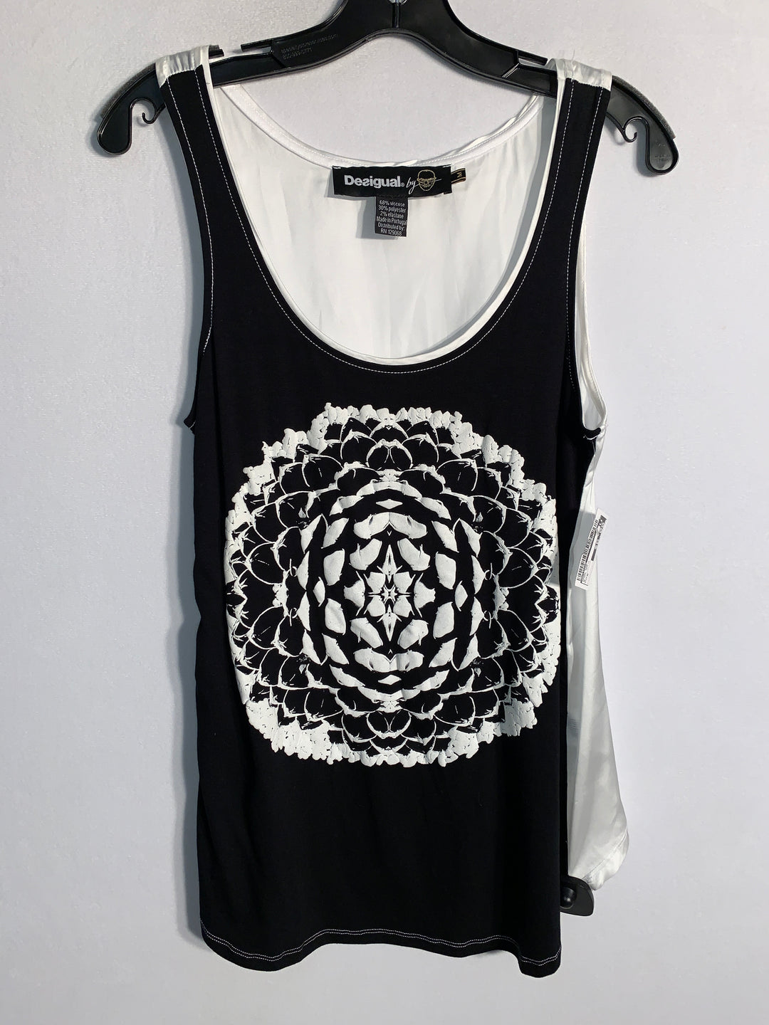 Primary Photo - BRAND: DESIGUAL<BR>STYLE: TANK TOP<BR>COLOR: BLACK WHITE<BR>SIZE: M<BR>SKU: 313-31328-26032