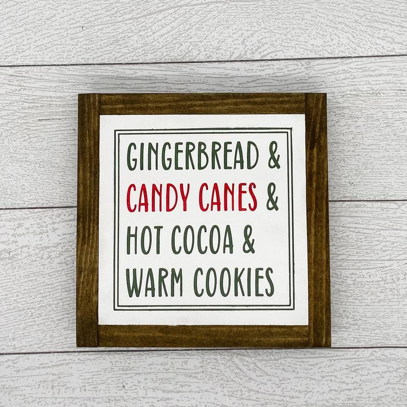 Gingerbread Candy Canes Hot Cocoa Warm Cookies | 8 x 8 Sign
