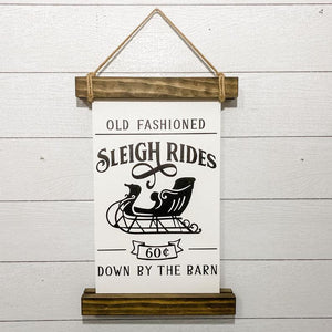 Vintage Sleigh Rides | 18 x 12 Hanging Scroll Sign