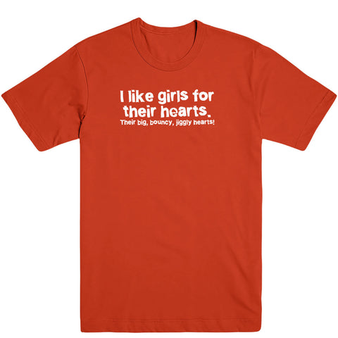 I Like Girls Jiggly Hearts Men's Tee
