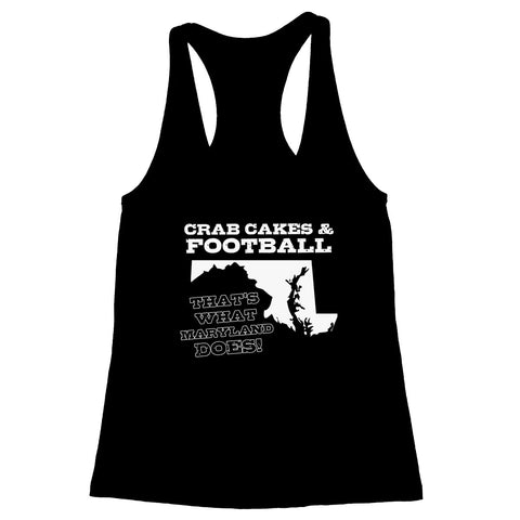 Crab Cakes & Football Women's Racerback Tank