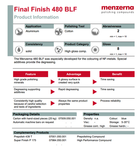480BLF Final Finish Menzerna compound bar sheet