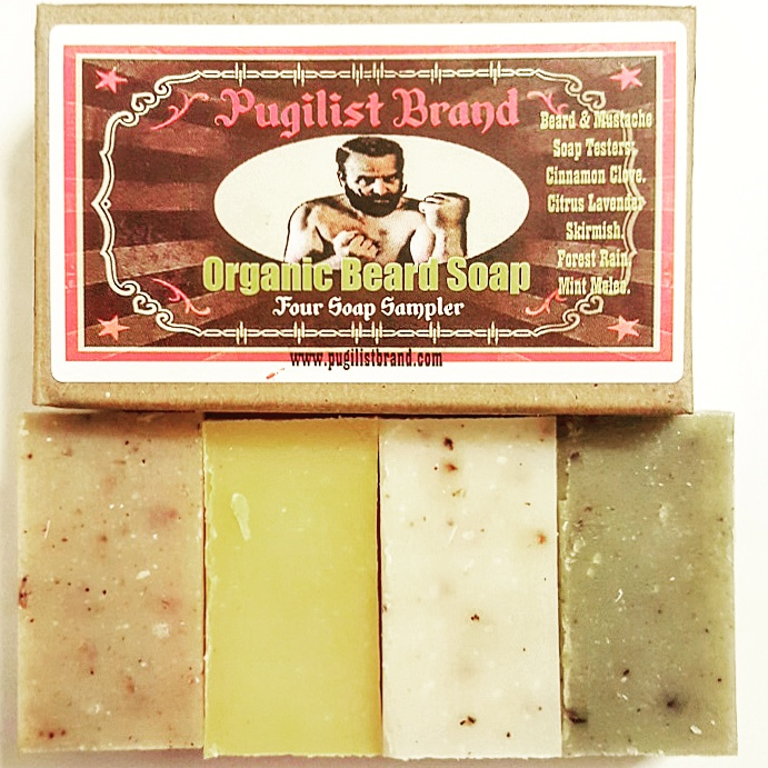 Organic Beard Soap - Four Soap Sampler - Pugilist Brand - Beard Care, Mustache Wax & Gentlemen's Grooming Products - 1