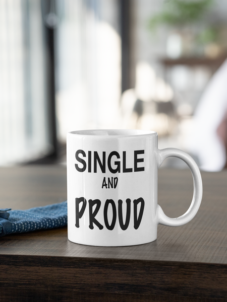 Kaffeebecher Tasse Becher Keramik lustig Spruch SINGLE AND PROUD
