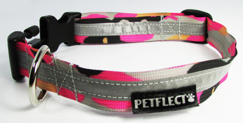 pink camo reflective dog collar