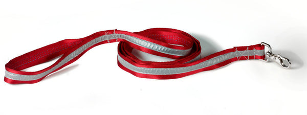 red/silver reflective leash