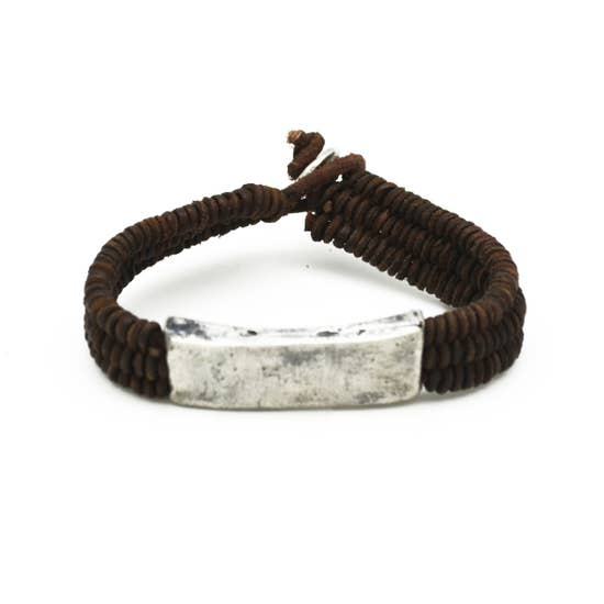 Bracelet - Leather and Silver Bar