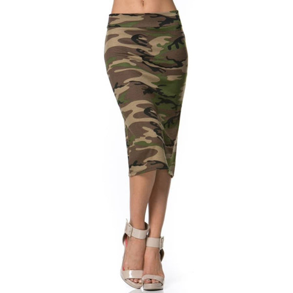 Skirt - High-Waisted Camo Print Pencil Skirt