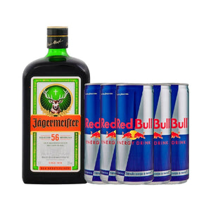 1 Jägermeister 700ml + 6 Red Bull 250ml