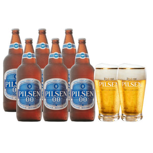 Pack 6 Pilsen 0.0 960ml + 2 vasos
