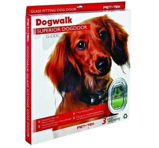Pet Tek Clear Glass Fitting Dog Door - Transparent for Medium Size Dogs - Cat Out Of House.co.uk