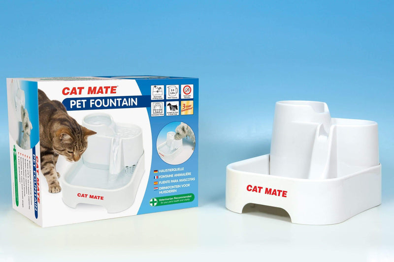 Cat Mate - Pet Fountain - Provides clean fresh filtered drinking water - 2 Litre volume capacity - Cat Out Of House.co.uk