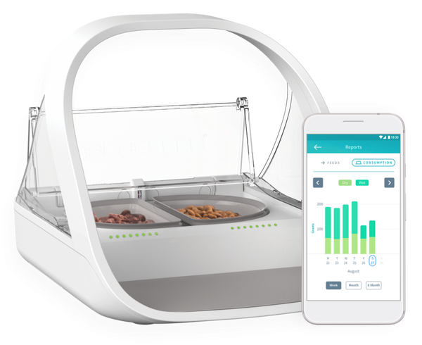 The SureFeed Microchip Pet Feeder Connect from Sure Petcare - Lets You Keep Track Of Your Pet's Feeding Habits - Cat Out Of House.co.uk