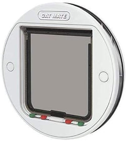 Cat Mate - 357W 4 Way Locking Glass Fitting Cat Flap, White, Large - Cat Out Of House.co.uk