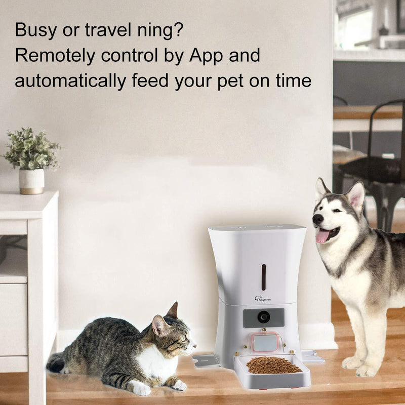 SKYMEE 8L Smart Automatic Pet Feeder Food Dispenser for Cats & Dogs - 1080P Full HD Pet Camera Treat Dispenser with Night Vision and 2-Way Audio. - Cat Out Of House.co.uk