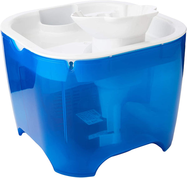 Cat Mate - Shell Pet Fountain, 3 Litres For Cats & Small Dogs,White Top/Blue Base