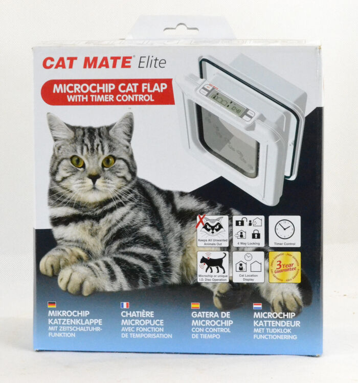 Cat Mate Elite Microchip Cat Flap with Timer Control- Program When Your Cat Enters & Leaves The Home