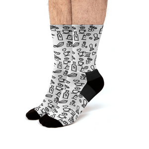 Open image in slideshow, Drink, Eat, Work. Men's Socks Crew