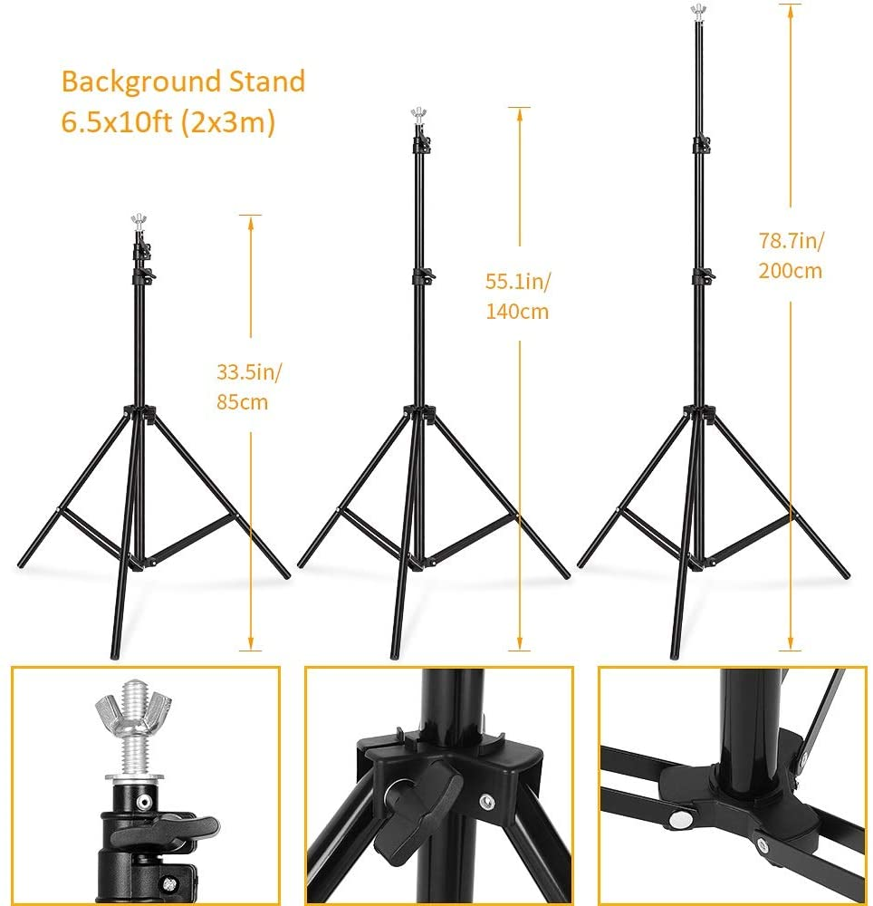 Durable 6.5 ft x 9.2 ft Black Aluminium Alloy Collapsible Background Support Stand Kit Adjustable Crossbars Pography Holder DELAMZ