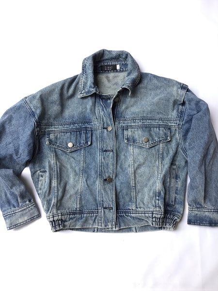 First Ring Mens crop bomber style Denim Jacket